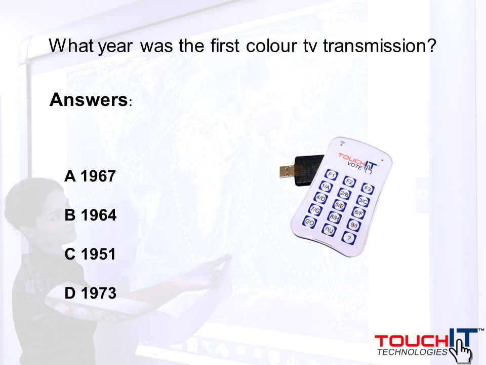 What year was the first colour tv transmission A 1967 B 1964 C 1951 D 1973 Answers :
