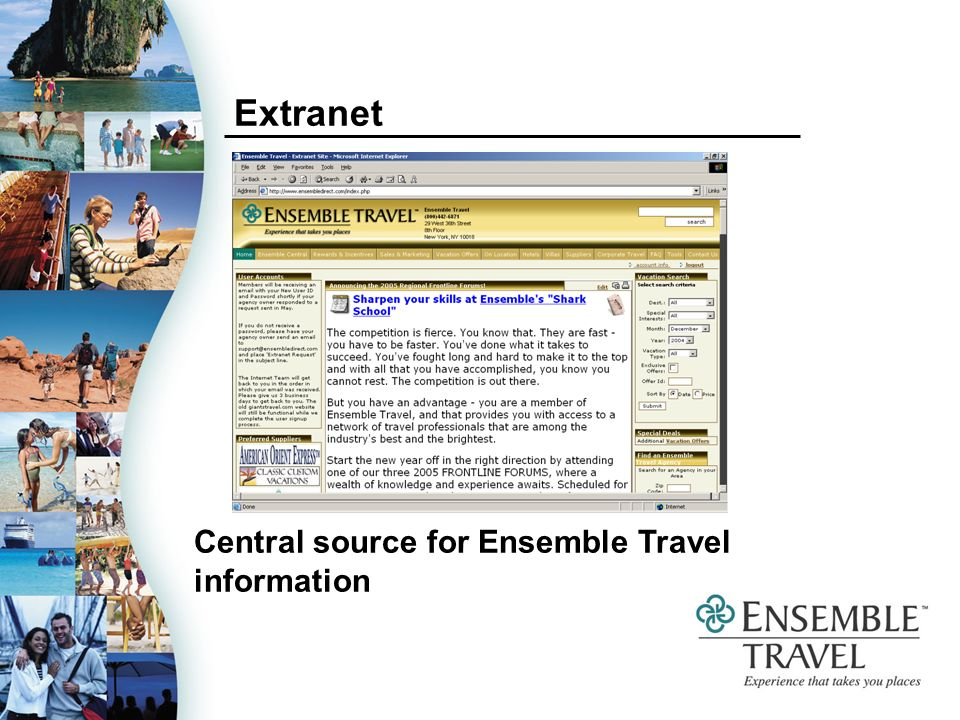 Extranet Central source for Ensemble Travel information