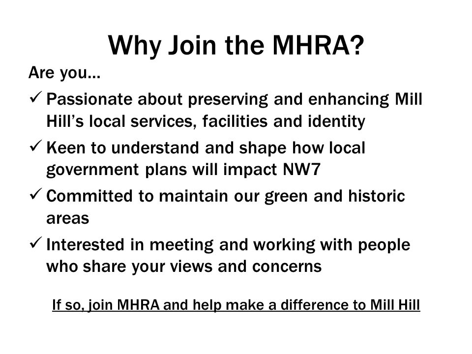 Why Join the MHRA.
