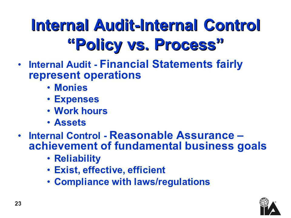 23 Internal Audit-Internal Control Policy vs.