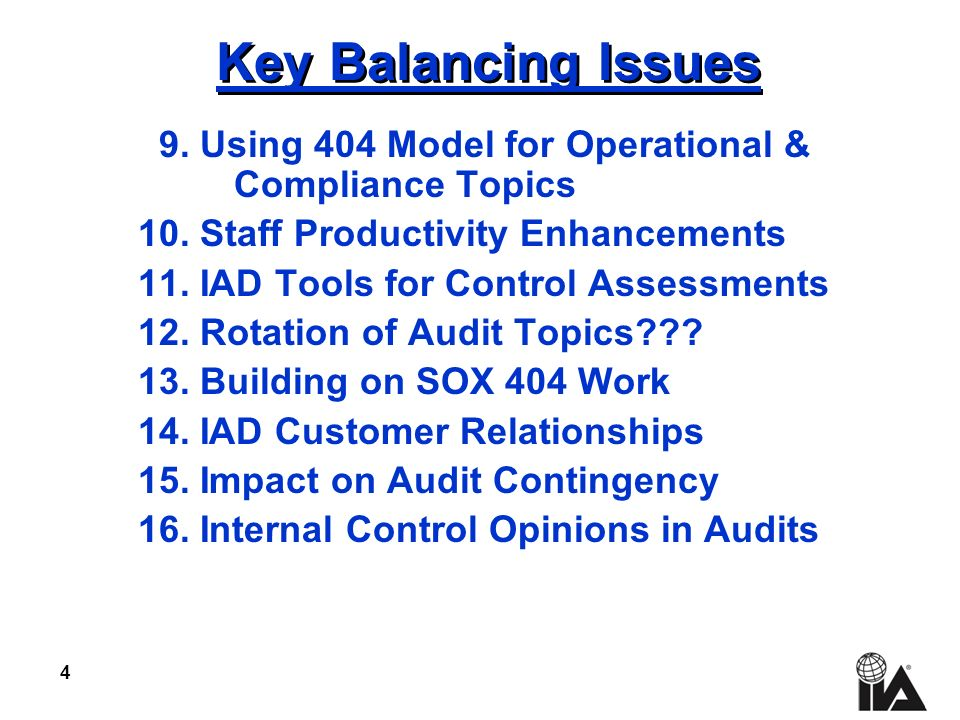 4 Key Balancing Issues 9. Using 404 Model for Operational & Compliance Topics 10.