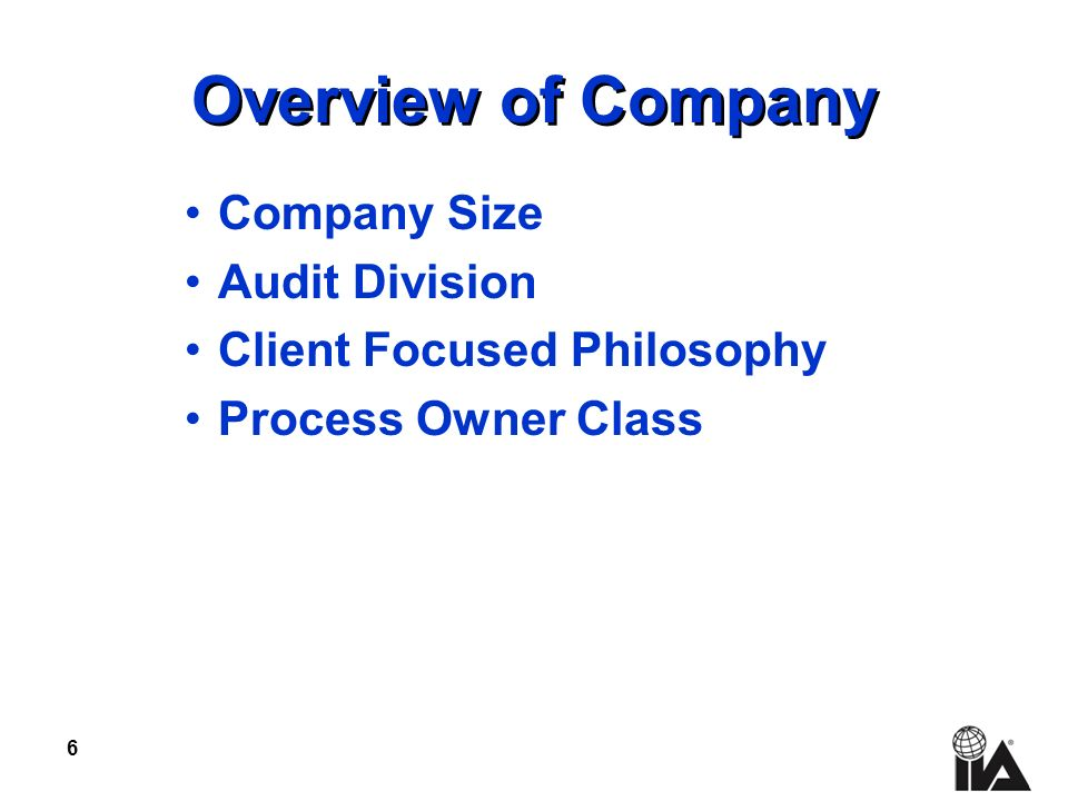 6 Overview of Company Company Size Audit Division Client Focused Philosophy Process Owner Class