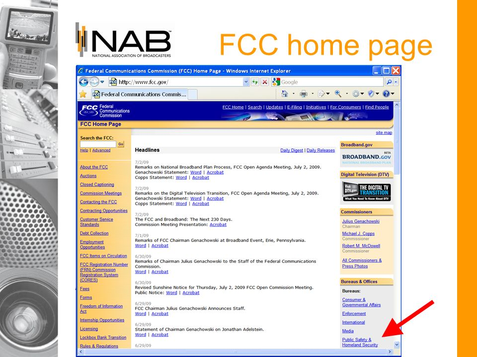 FCC home page