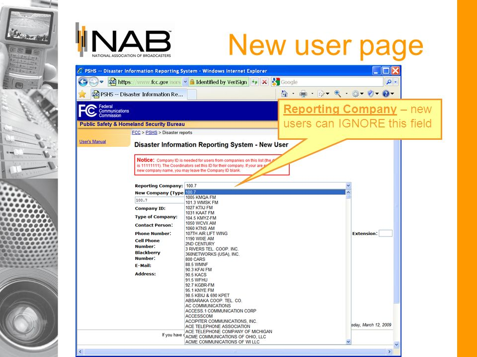 New user page Reporting Company – new users can IGNORE this field