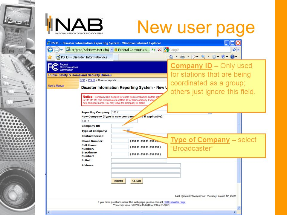 New user page Company ID – Only used for stations that are being coordinated as a group; others just ignore this field.
