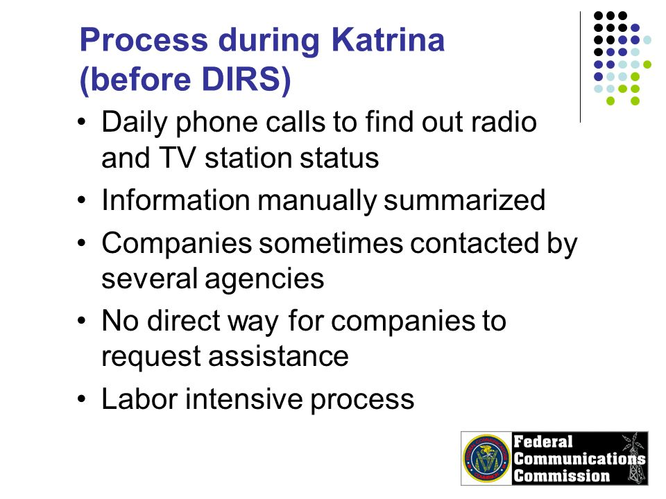 Process during Katrina (before DIRS) Daily phone calls to find out radio and TV station status Information manually summarized Companies sometimes contacted by several agencies No direct way for companies to request assistance Labor intensive process