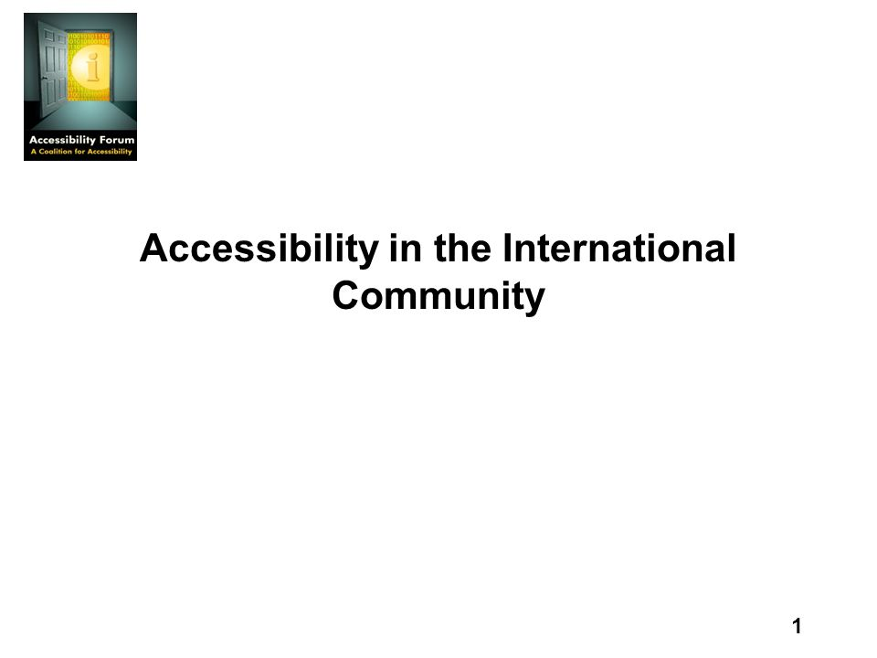 1 Accessibility in the International Community