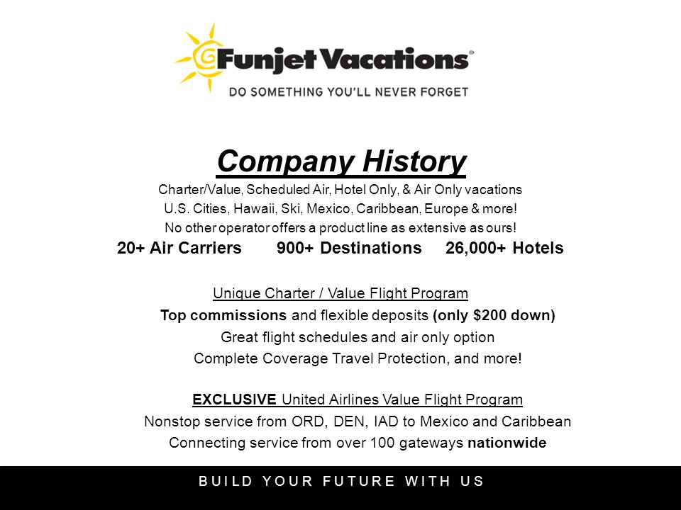 Company History Charter/Value, Scheduled Air, Hotel Only, & Air Only vacations U.S.