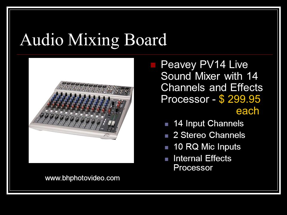 Audio Mixing Board Peavey PV14 Live Sound Mixer with 14 Channels and Effects Processor - $ each 14 Input Channels 2 Stereo Channels 10 RQ Mic Inputs Internal Effects Processor