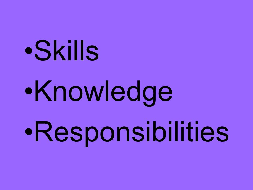Skills Knowledge Responsibilities
