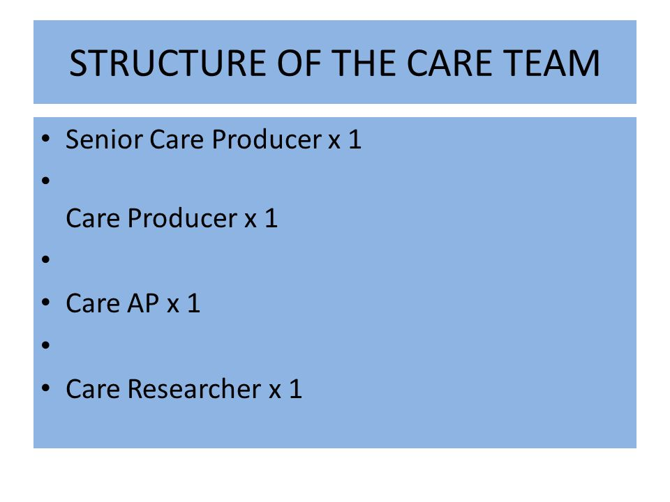 STRUCTURE OF THE CARE TEAM Senior Care Producer x 1 Care Producer x 1 Care AP x 1 Care Researcher x 1