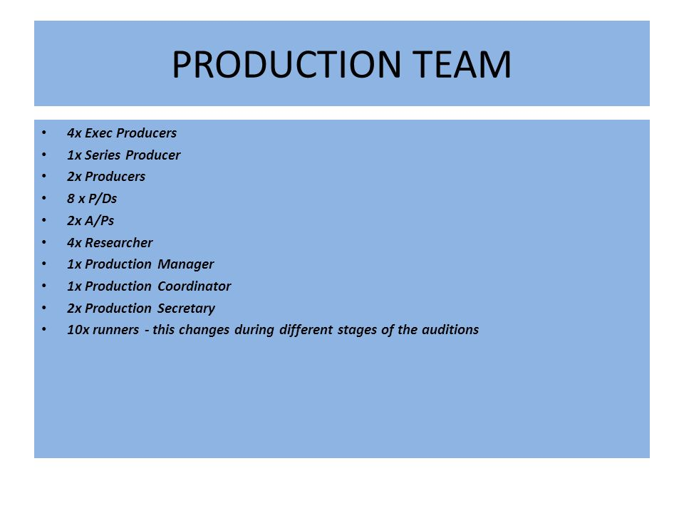 PRODUCTION TEAM 4x Exec Producers 1x Series Producer 2x Producers 8 x P/Ds 2x A/Ps 4x Researcher 1x Production Manager 1x Production Coordinator 2x Production Secretary 10x runners - this changes during different stages of the auditions