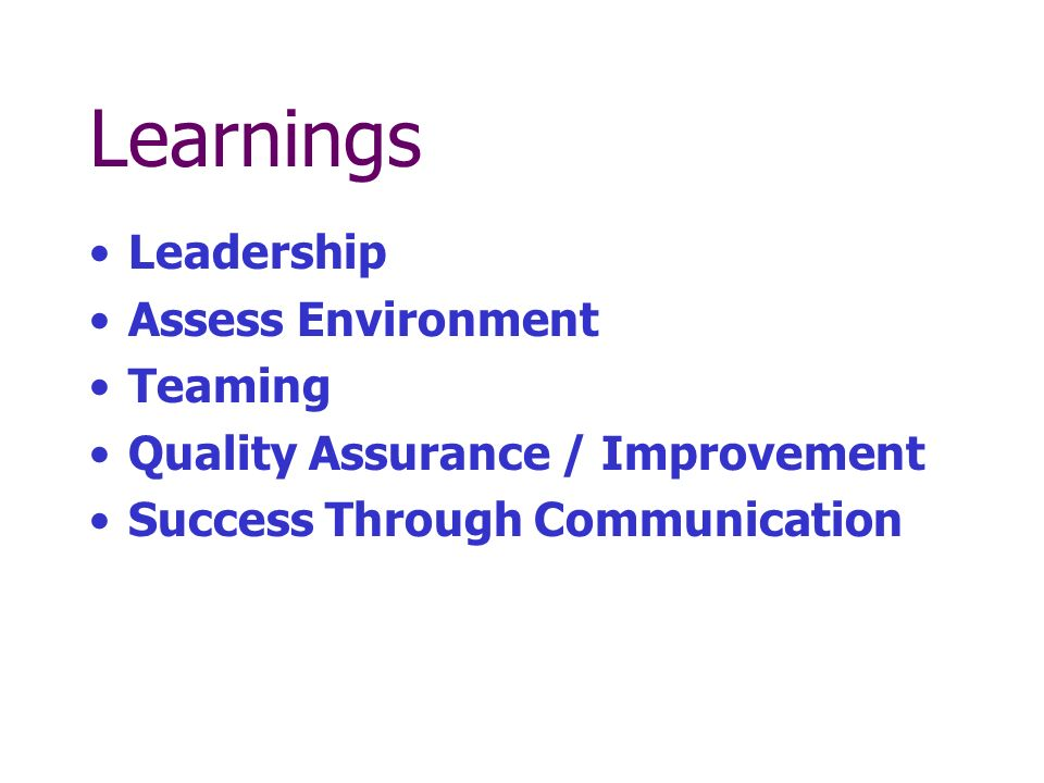 Learnings Leadership Assess Environment Teaming Quality Assurance / Improvement Success Through Communication