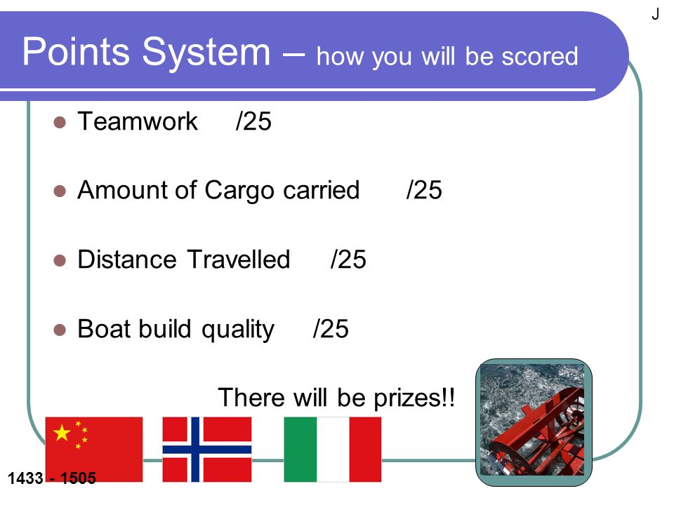 Points System – how you will be scored Teamwork /25 Amount of Cargo carried /25 Distance Travelled /25 Boat build quality /25 There will be prizes!.