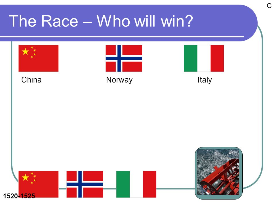 The Race – Who will win China Norway Italy C