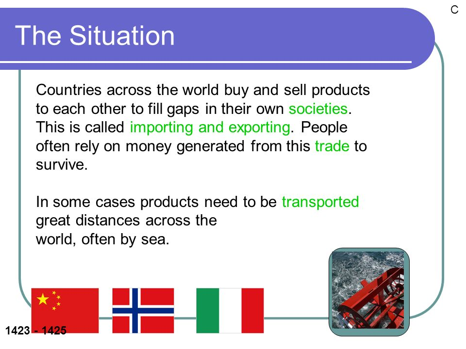 The Situation Countries across the world buy and sell products to each other to fill gaps in their own societies.