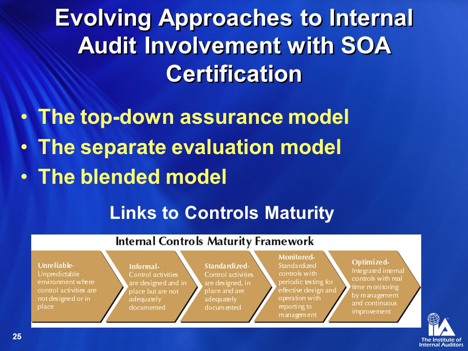 25 Evolving Approaches to Internal Audit Involvement with SOA Certification The top-down assurance model The separate evaluation model The blended model Links to Controls Maturity