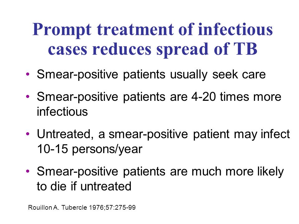 Prompt treatment of infectious cases reduces spread of TB Smear-positive patients usually seek care Smear-positive patients are 4-20 times more infectious Untreated, a smear-positive patient may infect persons/year Smear-positive patients are much more likely to die if untreated Rouillon A.