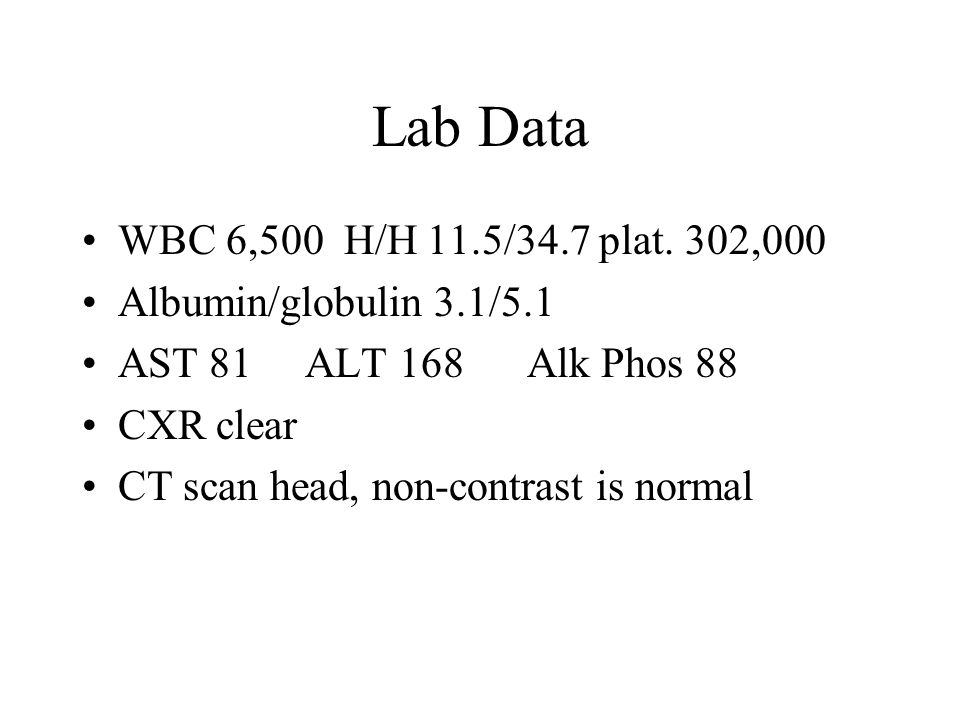 Lab Data WBC 6,500 H/H 11.5/34.7 plat.
