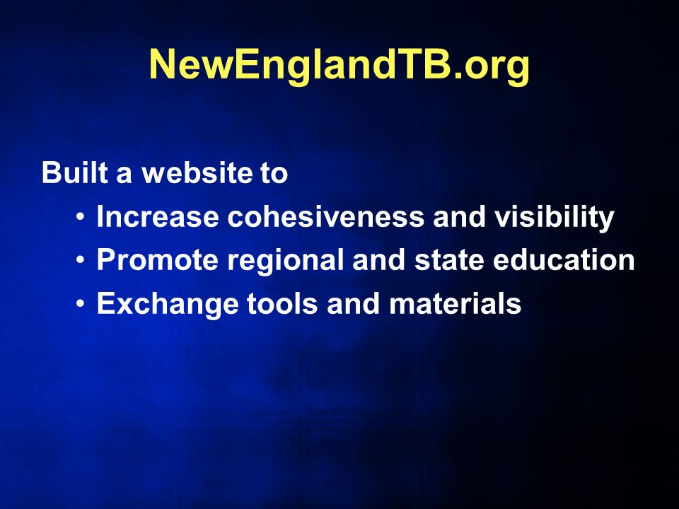 NewEnglandTB.org Built a website to Increase cohesiveness and visibility Promote regional and state education Exchange tools and materials