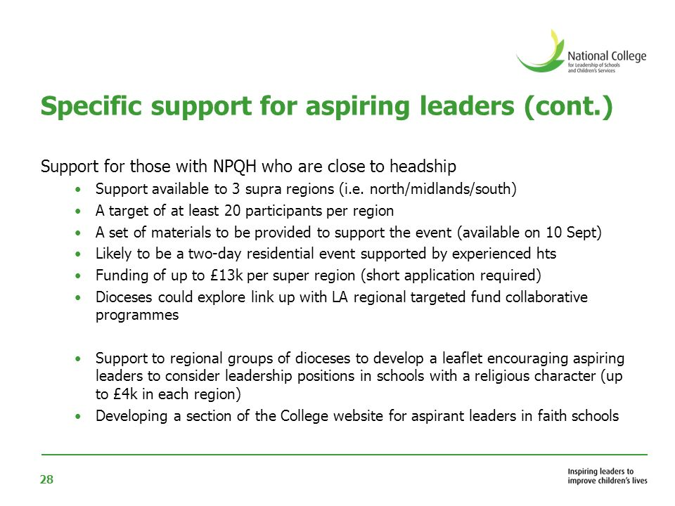 28 Specific support for aspiring leaders (cont.) Support for those with NPQH who are close to headship Support available to 3 supra regions (i.e.