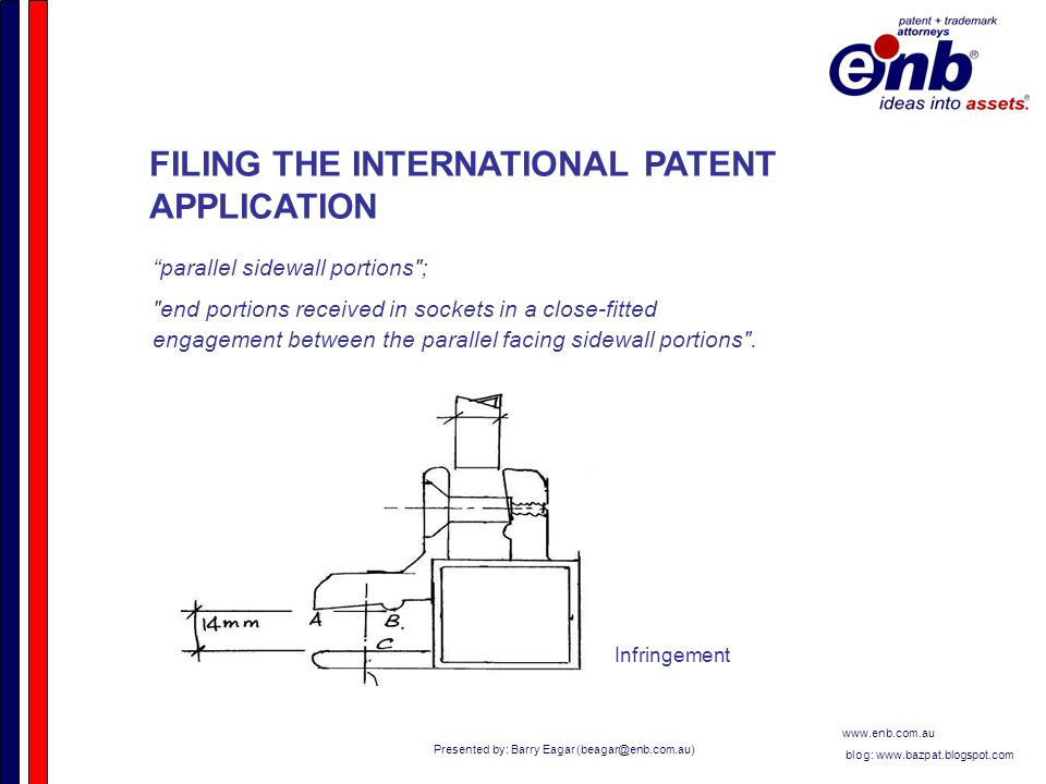 Presented by: Barry Eagar   blog:   FILING THE INTERNATIONAL PATENT APPLICATION parallel sidewall portions ; end portions received in sockets in a close-fitted engagement between the parallel facing sidewall portions .