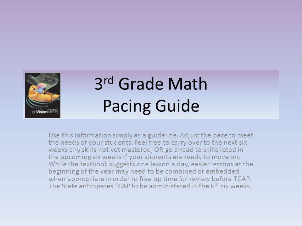 3 rd Grade Math Pacing Guide Use this information simply as a guideline.