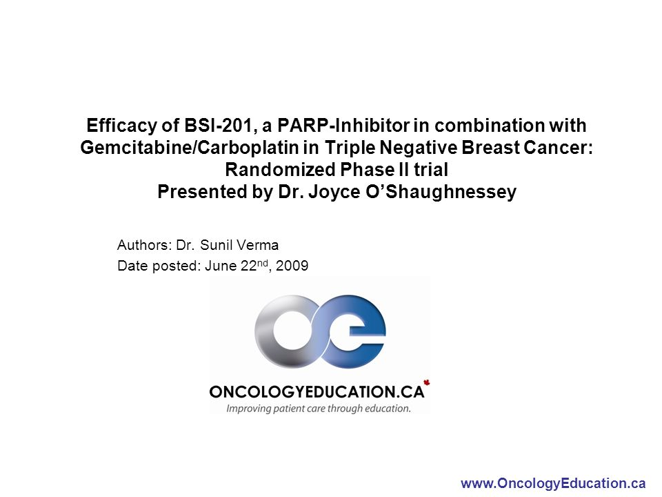 Efficacy of BSI-201, a PARP-Inhibitor in combination with Gemcitabine/Carboplatin in Triple Negative Breast Cancer: Randomized Phase II trial Presented by Dr.