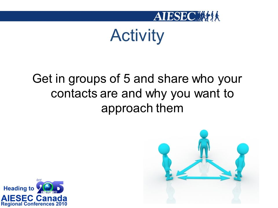 Activity Get in groups of 5 and share who your contacts are and why you want to approach them