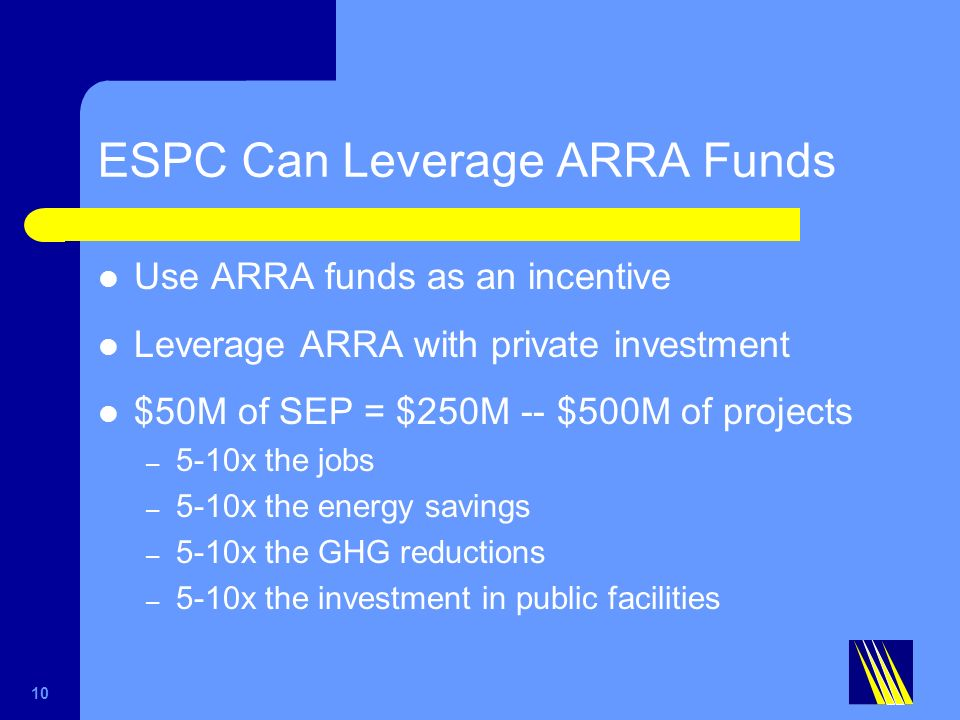 ESPC Can Leverage ARRA Funds Use ARRA funds as an incentive Leverage ARRA with private investment $50M of SEP = $250M -- $500M of projects – 5-10x the jobs – 5-10x the energy savings – 5-10x the GHG reductions – 5-10x the investment in public facilities 10