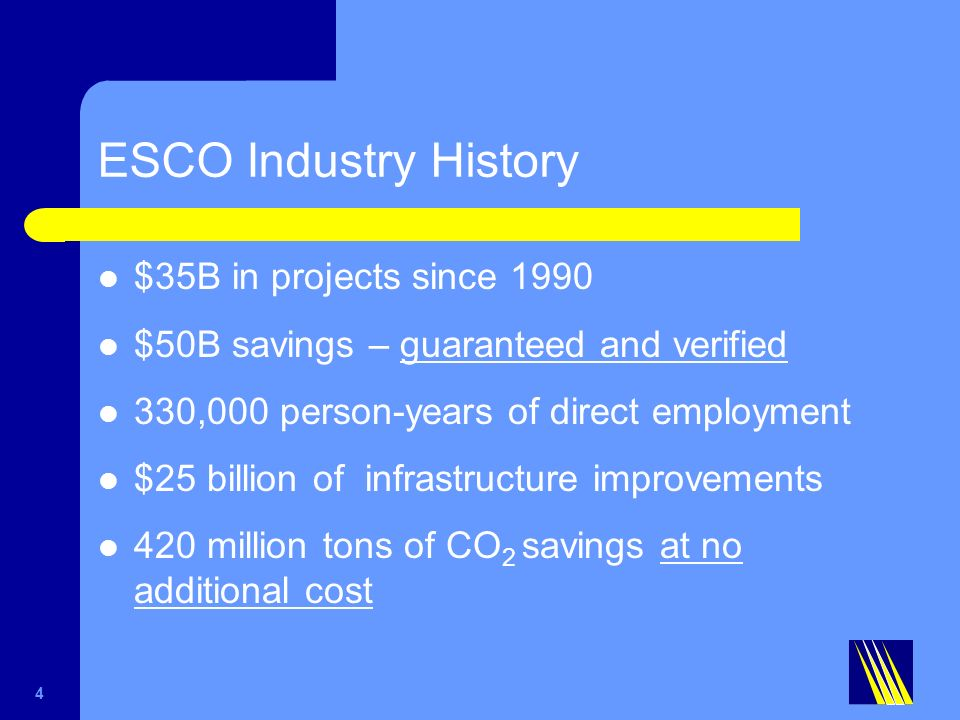 ESCO Industry History $35B in projects since 1990 $50B savings – guaranteed and verified 330,000 person-years of direct employment $25 billion of infrastructure improvements 420 million tons of CO 2 savings at no additional cost 4