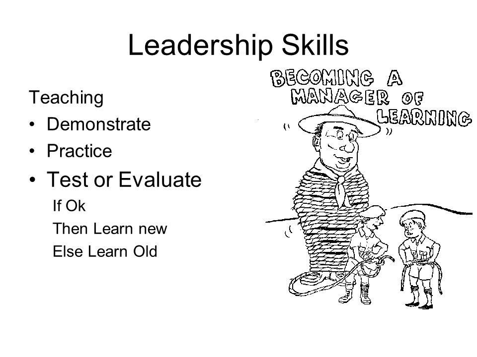 Leadership Skills Teaching Demonstrate Practice Test or Evaluate If Ok Then Learn new Else Learn Old
