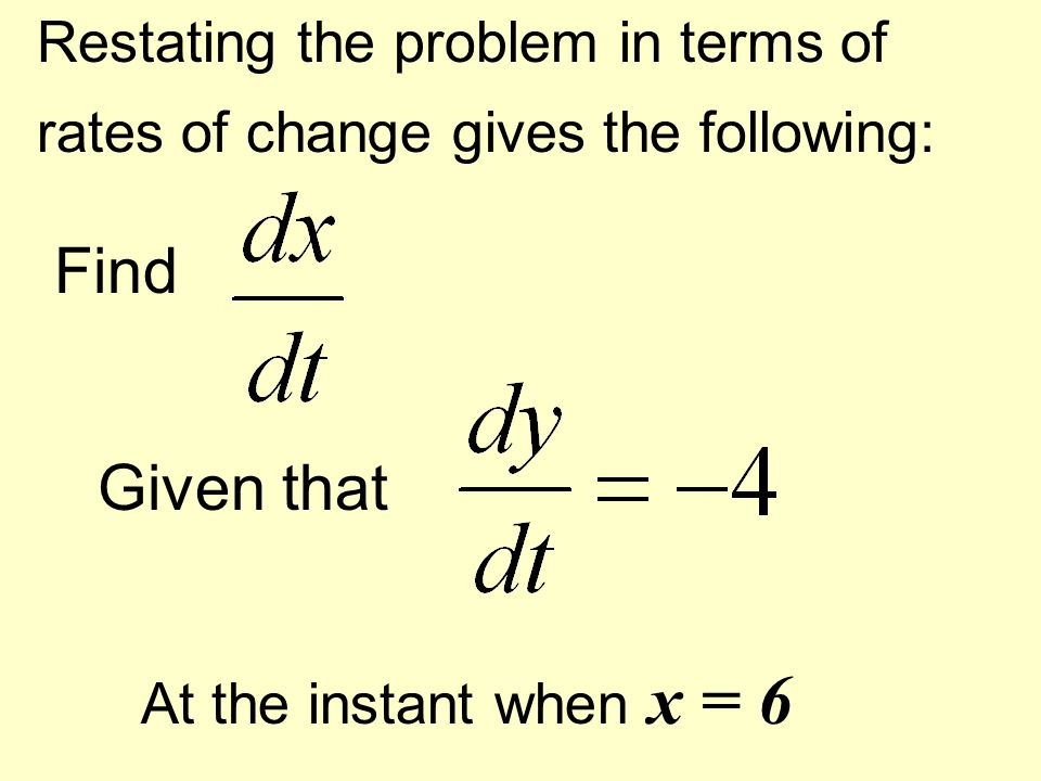 Restating the problem in terms of rates of change gives the following: Find Given that At the instant when x = 6