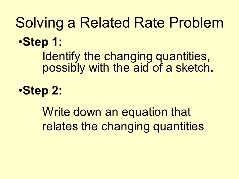 Solving a Related Rate Problem Step 1: Identify the changing quantities, possibly with the aid of a sketch.