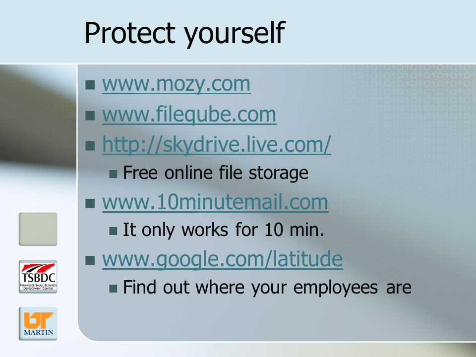 Protect yourself Free online file storage   It only works for 10 min.