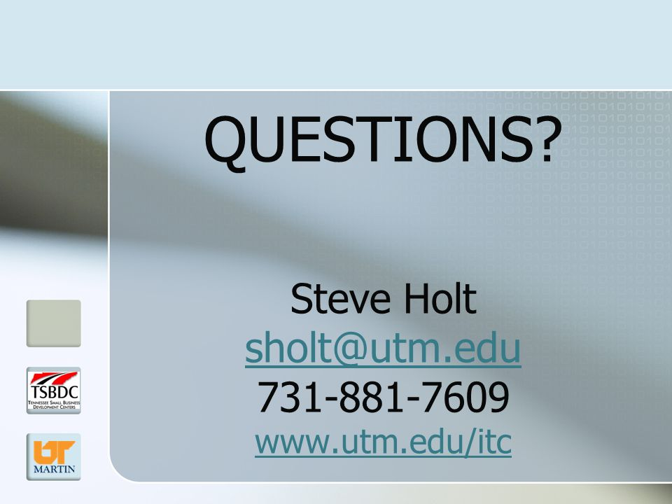 QUESTIONS Steve Holt