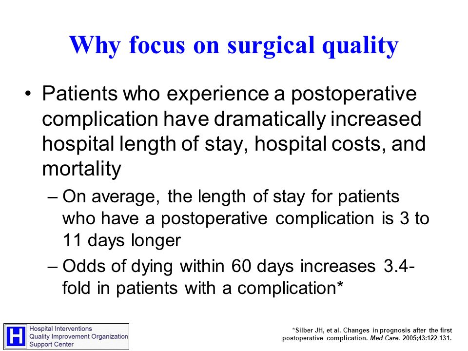 Why focus on surgical quality Patients who experience a postoperative complication have dramatically increased hospital length of stay, hospital costs, and mortality –On average, the length of stay for patients who have a postoperative complication is 3 to 11 days longer –Odds of dying within 60 days increases 3.4- fold in patients with a complication* *Silber JH, et al.