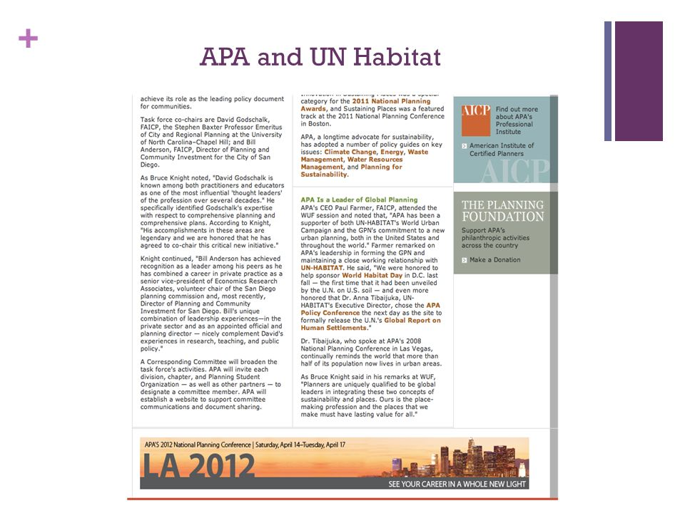 + APA and UN Habitat
