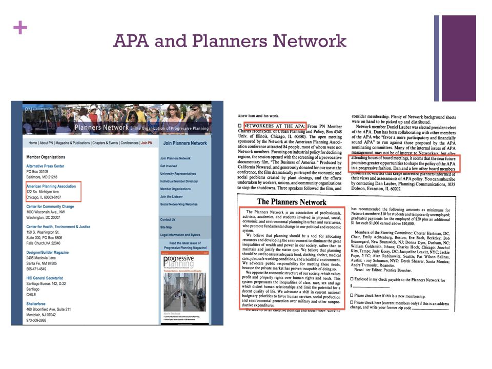 + APA and Planners Network