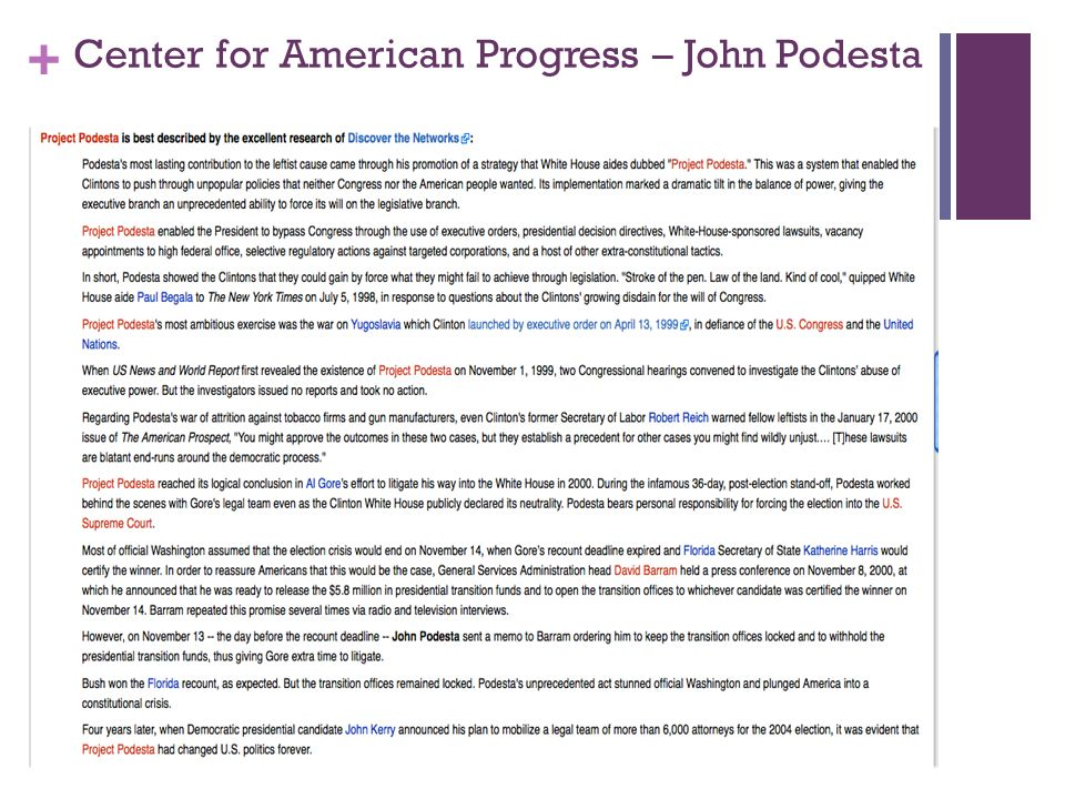 + Center for American Progress – John Podesta