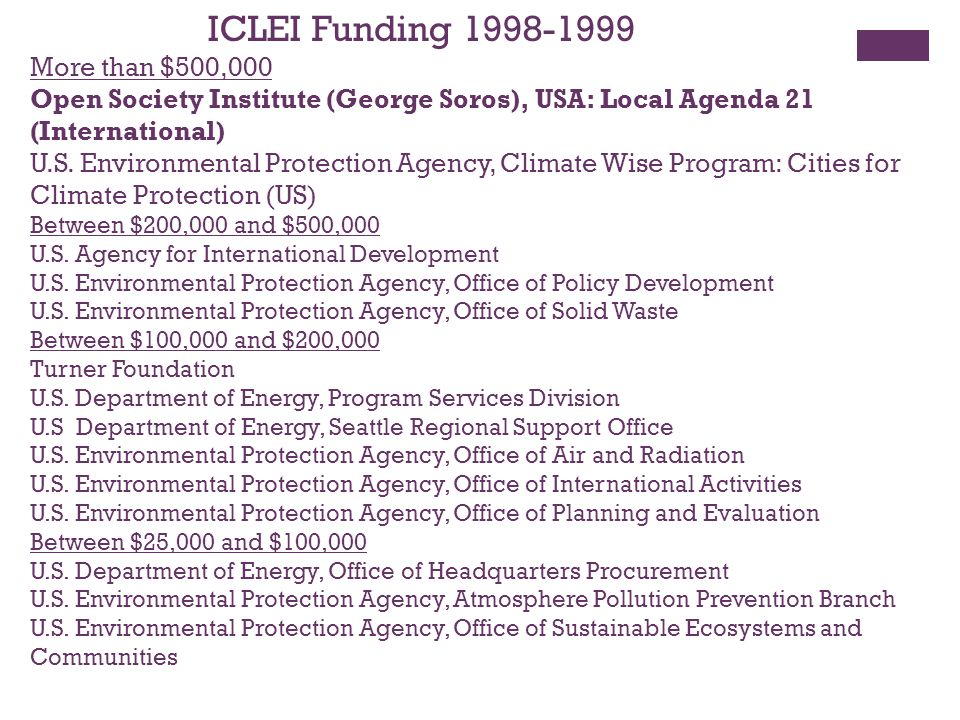 ICLEI Funding 1998-1999 More than $500,000 Open Society Institute (George Soros), USA: Local Agenda 21 (International) U.S.