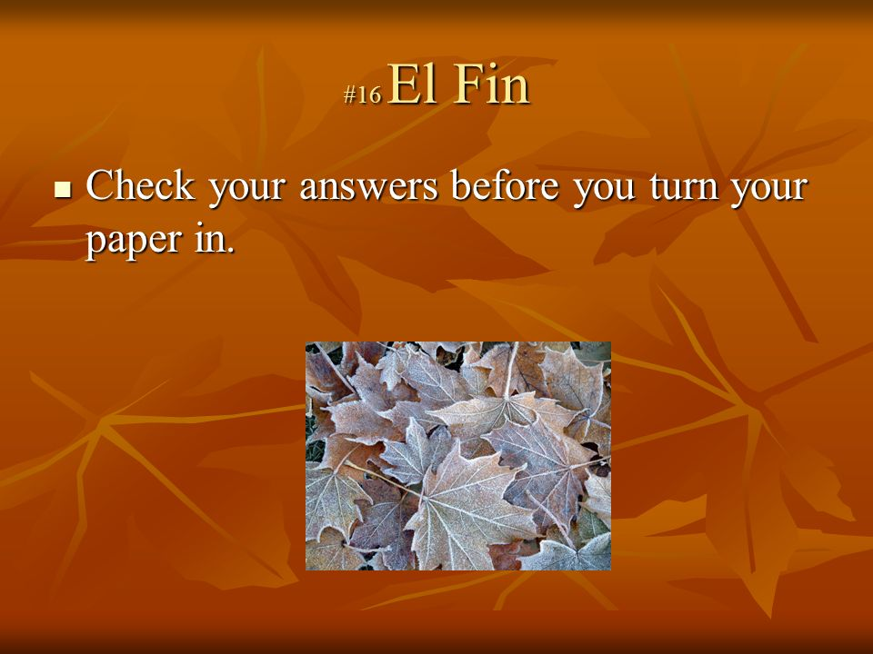 #16 El Fin Check your answers before you turn your paper in.