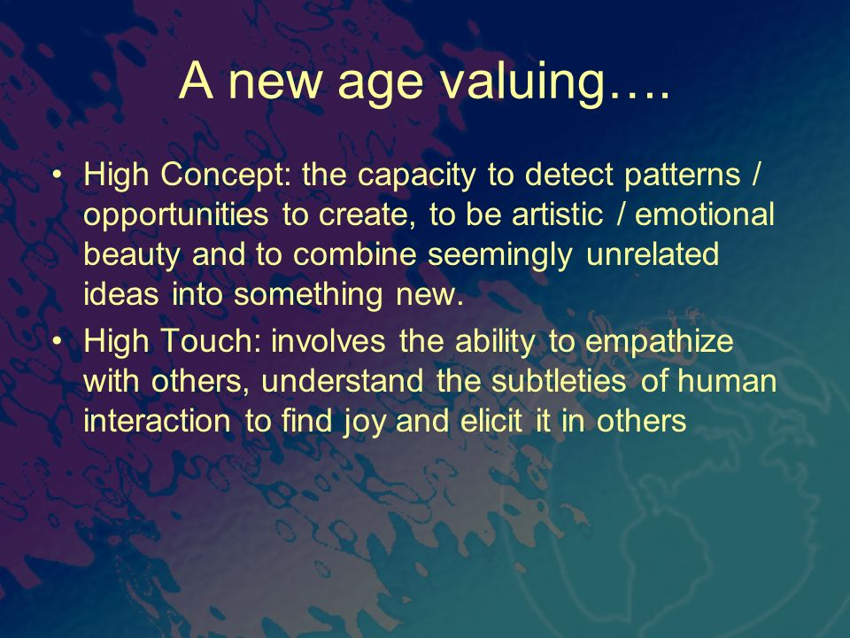 A new age valuing….