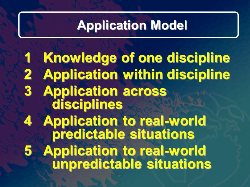 1 Knowledge of one discipline 2 Application within discipline 3 Application across disciplines 4 Application to real-world predictable situations 5 Application to real-world unpredictable situations