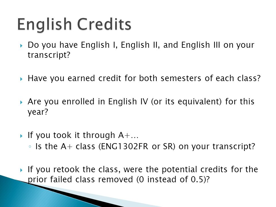 Do you have English I, English II, and English III on your transcript.
