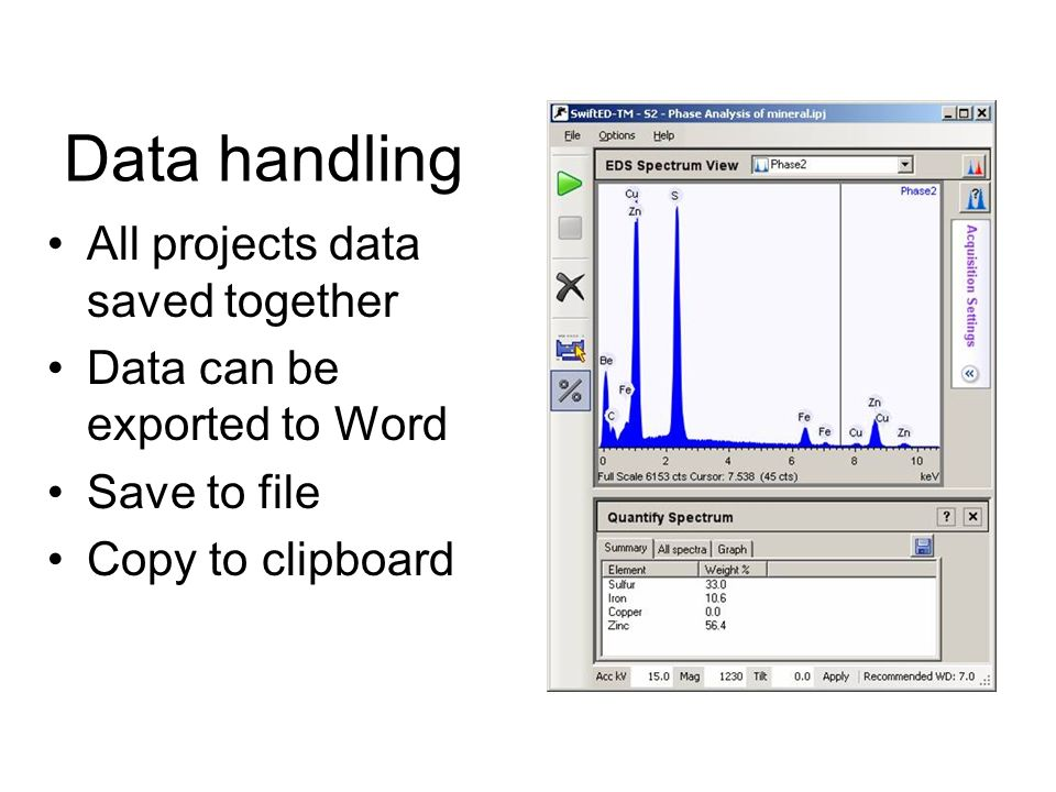 Data handling All projects data saved together Data can be exported to Word Save to file Copy to clipboard