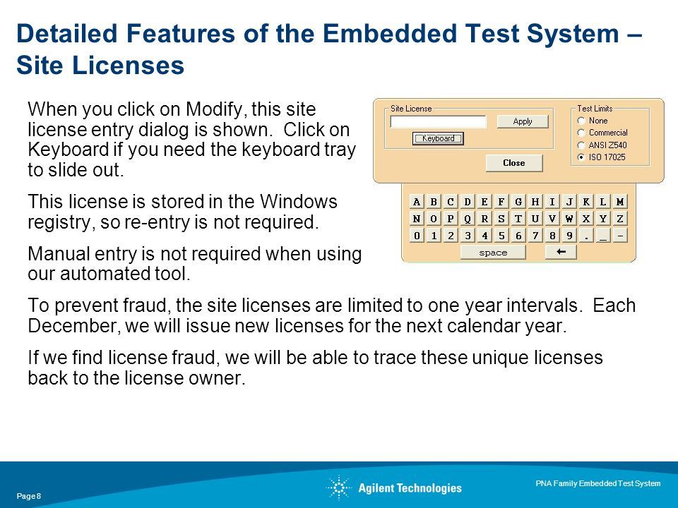 Page 8 PNA Family Embedded Test System When you click on Modify, this site license entry dialog is shown.