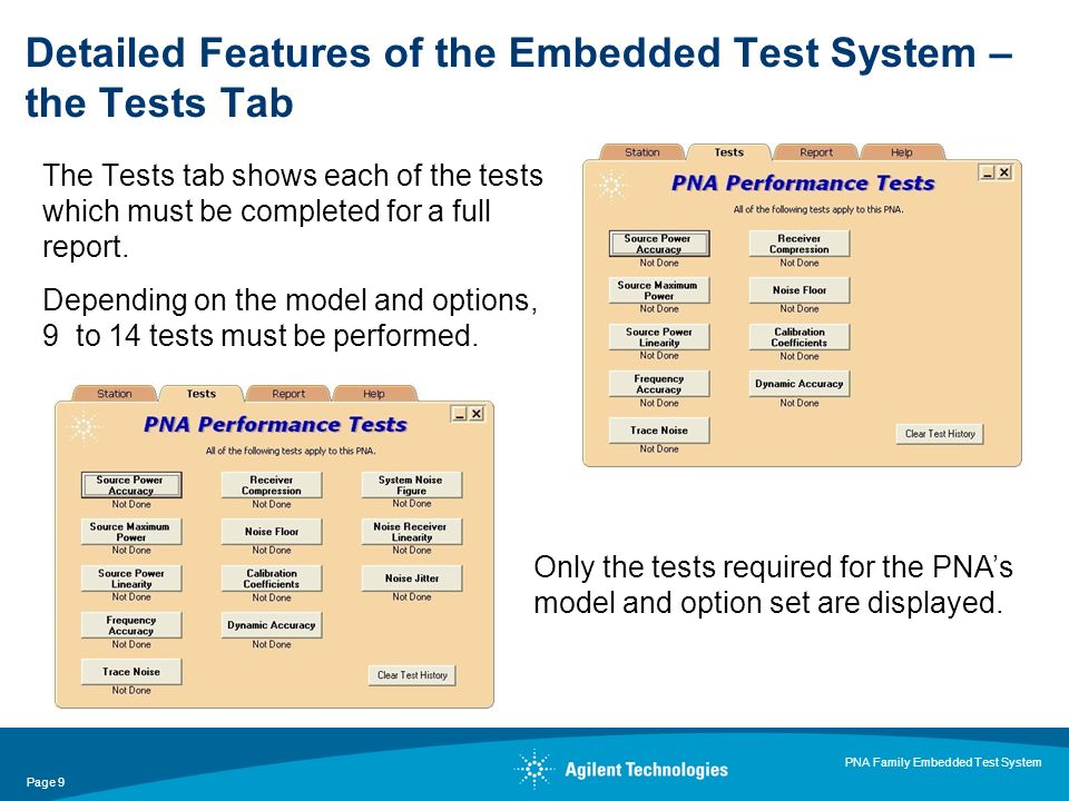 Page 9 PNA Family Embedded Test System The Tests tab shows each of the tests which must be completed for a full report.