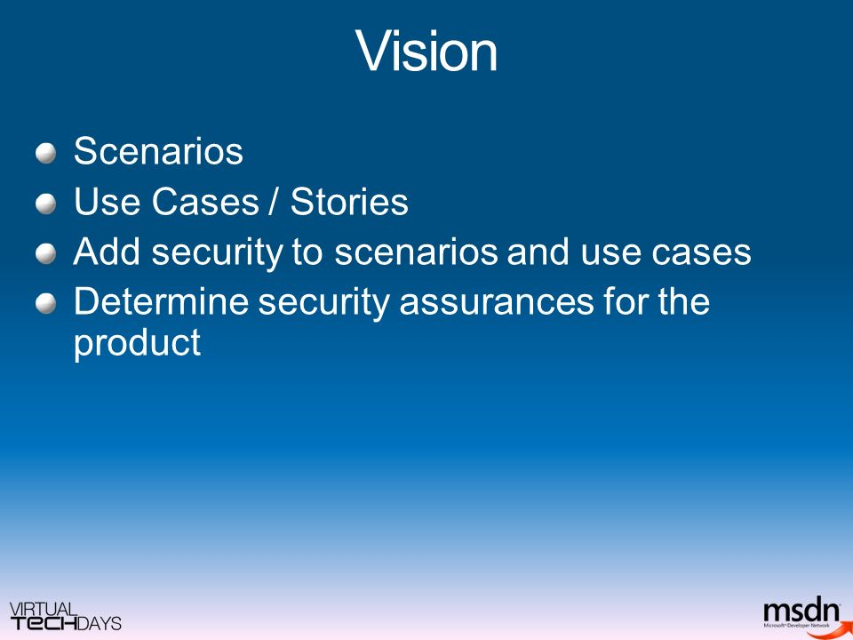 Vision Scenarios Use Cases / Stories Add security to scenarios and use cases Determine security assurances for the product