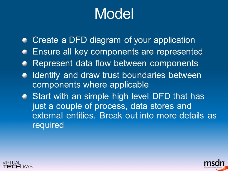 Model Create a DFD diagram of your application Ensure all key components are represented Represent data flow between components Identify and draw trust boundaries between components where applicable Start with an simple high level DFD that has just a couple of process, data stores and external entities.